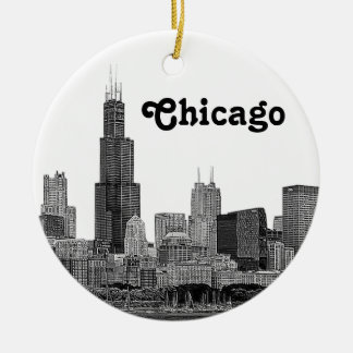 Chicago Skyline Etched Ceramic Ornament