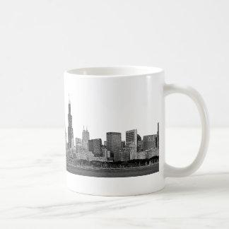 Chicago Skyline Etched Classic White Coffee Mug