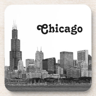 Chicago Skyline Etched Beverage Coasters