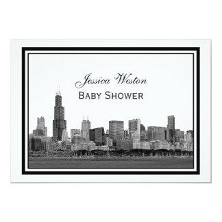 Chicago Skyline Etched Framed #2 H Baby Shower Custom Invite