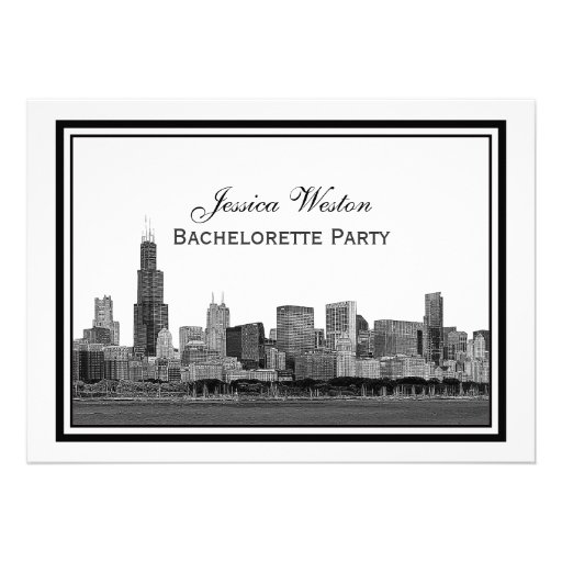 Chicago Skyline Etched Framed #2 H Bachelorette Personalized Invite