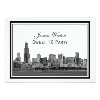 Chicago Skyline Etched Framed #2 H Sweet 16 5x7 Paper Invitation Card