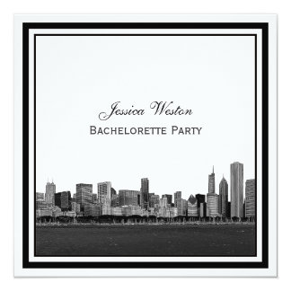 Chicago Skyline Etched Framed Bachelorette 5.25x5.25 Square Paper Invitation Card