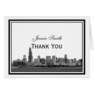 Chicago Skyline Etched Framed H Thank You Card