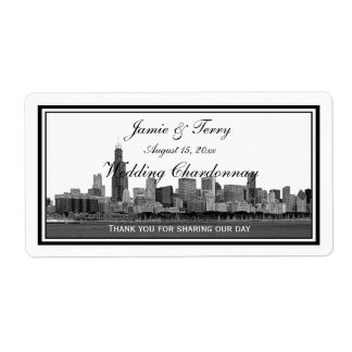 Chicago Skyline Etched Framed H Wine Label