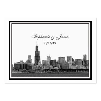 Chicago Skyline Etched Framed Place Cards #2 Business Card Templates