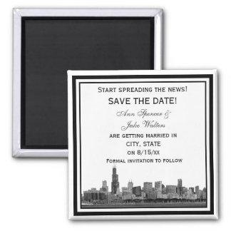 Chicago Skyline Etched Framed Save the Date Magnet