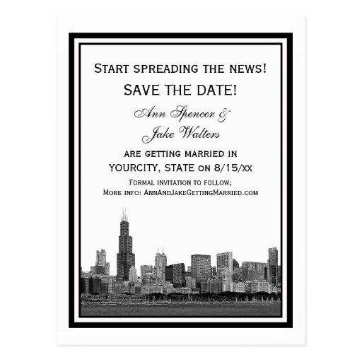 Chicago Skyline Etched Framed Save the Date Post Card