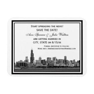 Chicago Skyline Etched Framed Save the Date Vinyl Magnet