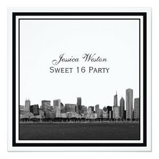 Chicago Skyline Etched Framed Sweet 16 5.25x5.25 Square Paper Invitation Card