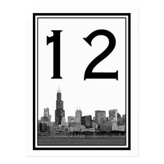 Chicago Skyline Etched Framed Table Number Postcard
