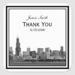 Chicago Skyline Etched Framed Thank You Square Sticker