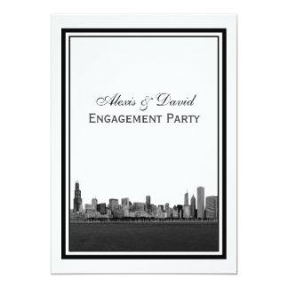 Chicago Skyline Etched Framed V Engagement Card