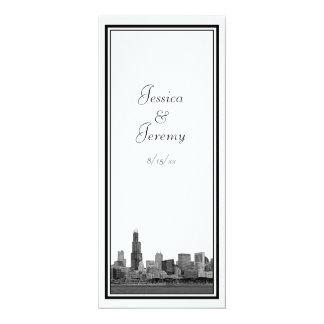 Chicago Skyline Etched Framed Wedding Program Menu Card