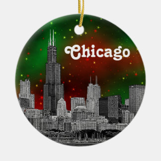 Chicago Skyline Etched, Green Red Starry Sky Xmas Ceramic Ornament