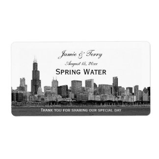 Chicago Skyline Etched H Water Bottle Label
