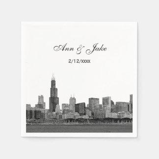 Chicago Skyline Etched Look Skyline Wedding Paper Napkin