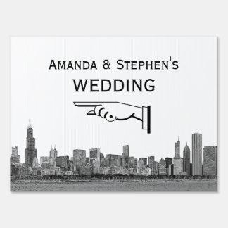 Chicago Skyline Etched Look Wedding Sign Medium