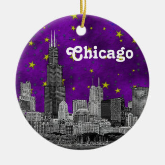 Chicago Skyline Etched, Purple Starry Sky Double-Sided Ceramic Round Christmas Ornament