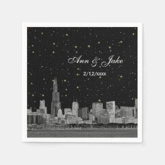 Chicago Skyline Etched Starry DIY BG Color Wedding Paper Napkin