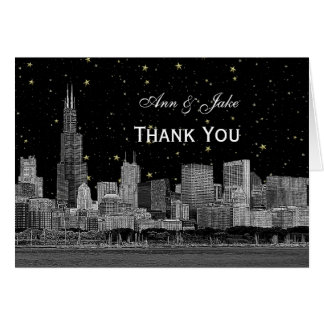 Chicago Skyline Etched Starry DIY BG Thank You Card