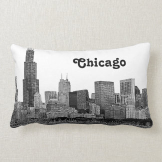 Chicago Skyline Etched Throw Pillow