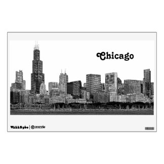 Chicago Skyline Etched Wall Decal