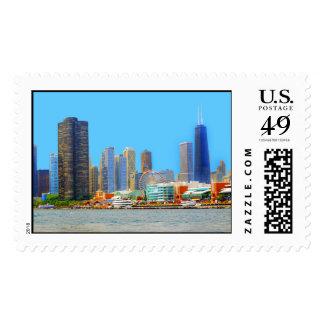 Chicago Skyline Featuring Navy Pier Postage