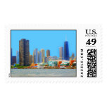 Chicago Skyline Featuring Navy Pier Postage Stamps