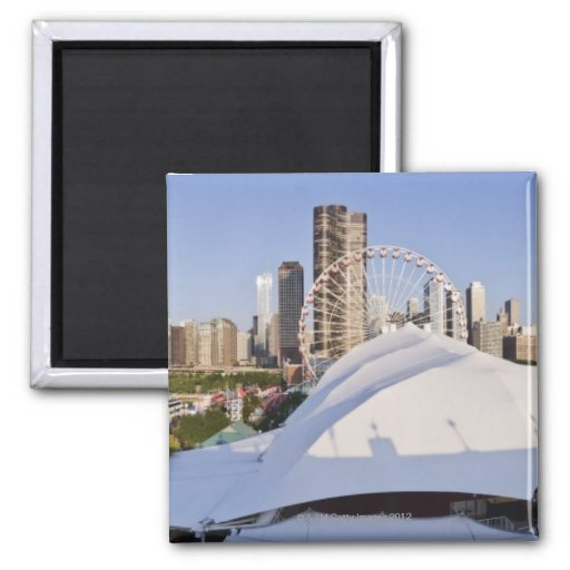 Chicago Skyline from Navy Pier Refrigerator Magnet
