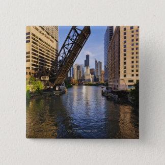 Chicago Skyline from the Kinzie St Bridge Button