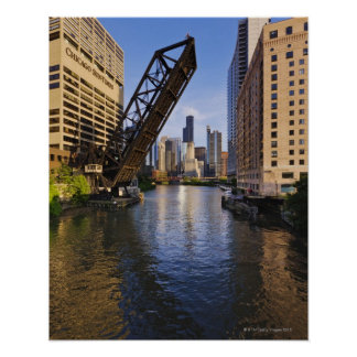 Chicago Skyline from the Kinzie St Bridge Poster
