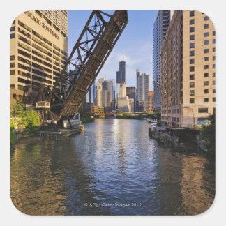 Chicago Skyline from the Kinzie St Bridge Square Sticker