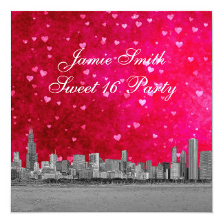 Chicago Skyline Hot Pink Red Heart Sweet 16 5.25x5.25 Square Paper Invitation Card