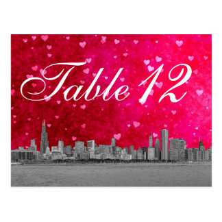 Chicago Skyline Hot Pink Red Heart Table Number Post Cards