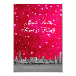 Chicago Skyline Hot Pink Red Heart V Sweet 16 5x7 Paper Invitation Card