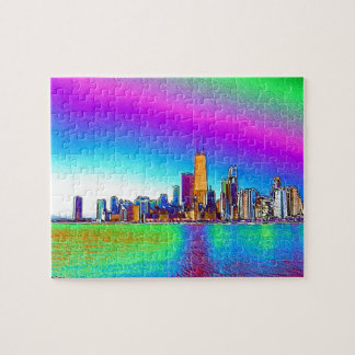Chicago Skyline in Colored Foil Puzzles