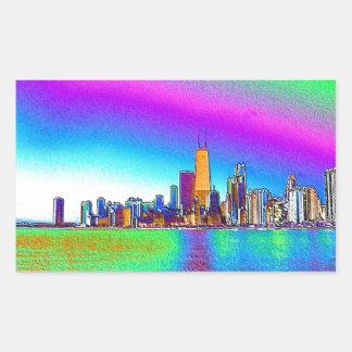 Chicago Skyline in Colored Foil Rectangular Sticker