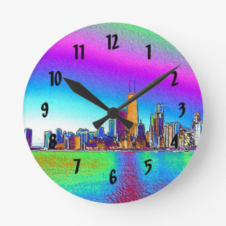 Chicago Skyline in Colored Foil Round Clock