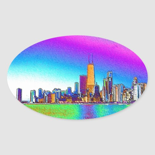 Chicago Skyline in Colored Foil Oval Sticker