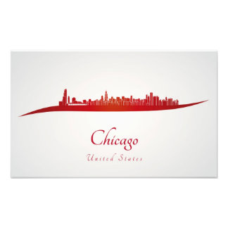 Chicago skyline in red fotografía