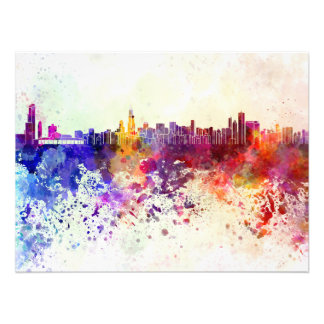 Chicago skyline in watercolor background photo print