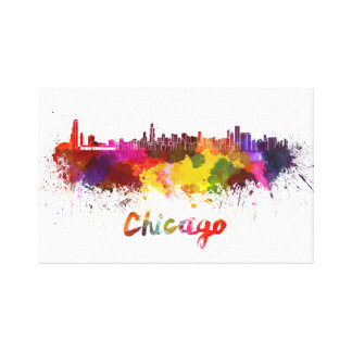 Chicago skyline in watercolor canvas print