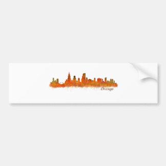 Chicago skyline in watercolor Cityscape Bumper Sticker