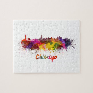 Chicago skyline in watercolor puzzle