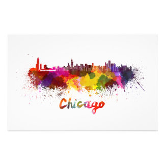 Chicago skyline in watercolor stationery