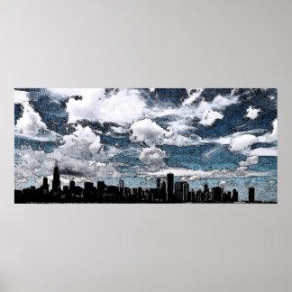 Chicago Skyline, Ink Poster
