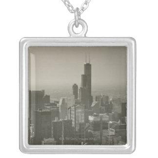 Chicago Skyline, John Hancock Center Skydeck 2 Square Pendant Necklace