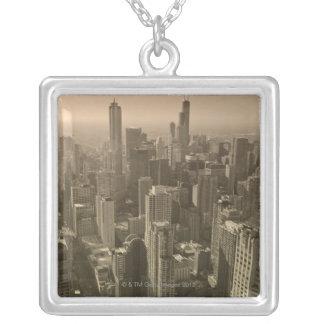 Chicago Skyline, John Hancock Center Skydeck Square Pendant Necklace
