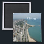 """Chicago Skyline Magnet<br><div class=""""desc"""">Chicago Skyline nature kitchen magnet. It is beautiful artistic painted view of Chicago. It is best advertisement for travel to Chicago.</div>"""